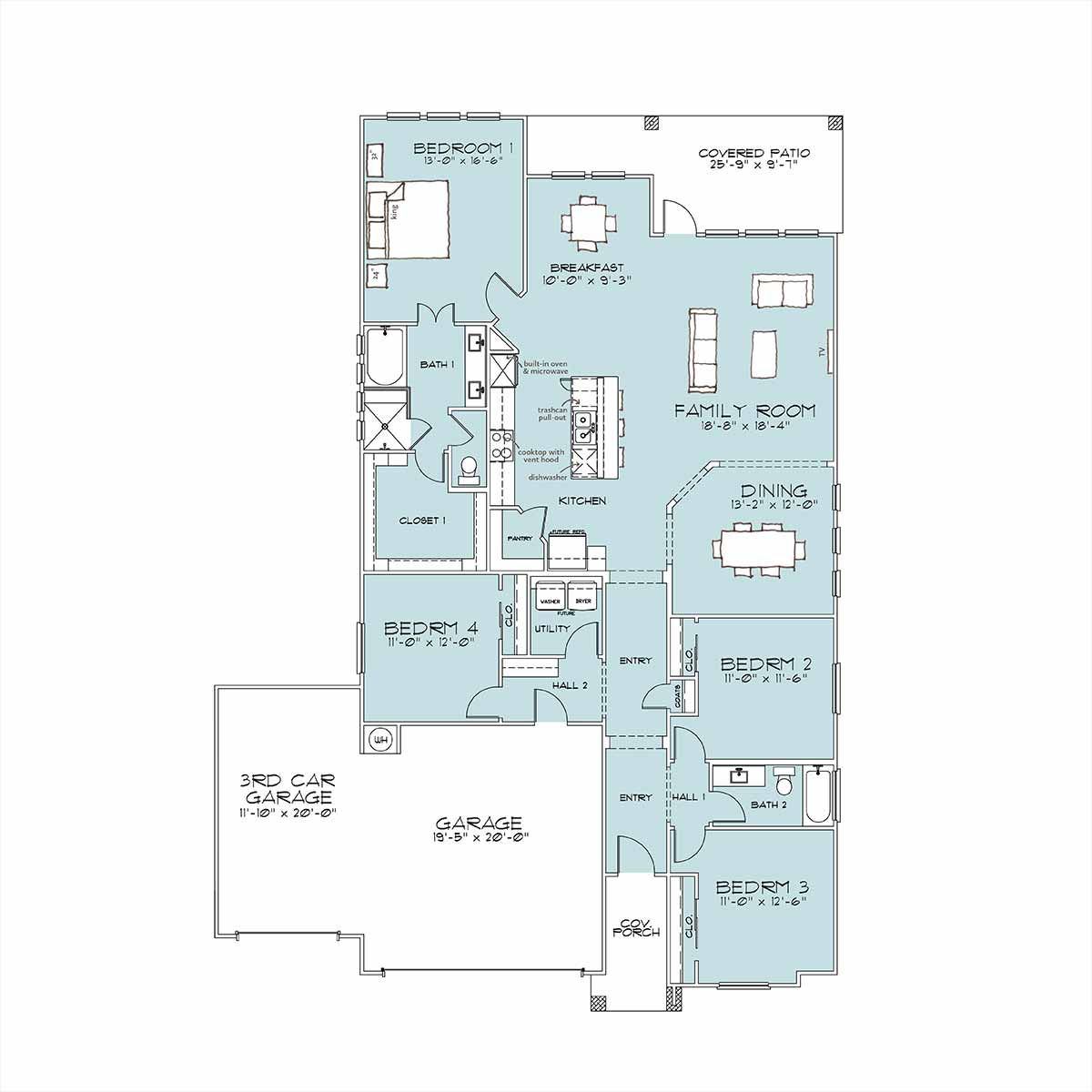 Holly Floor Plan by Omega Builders in Valley Ranch