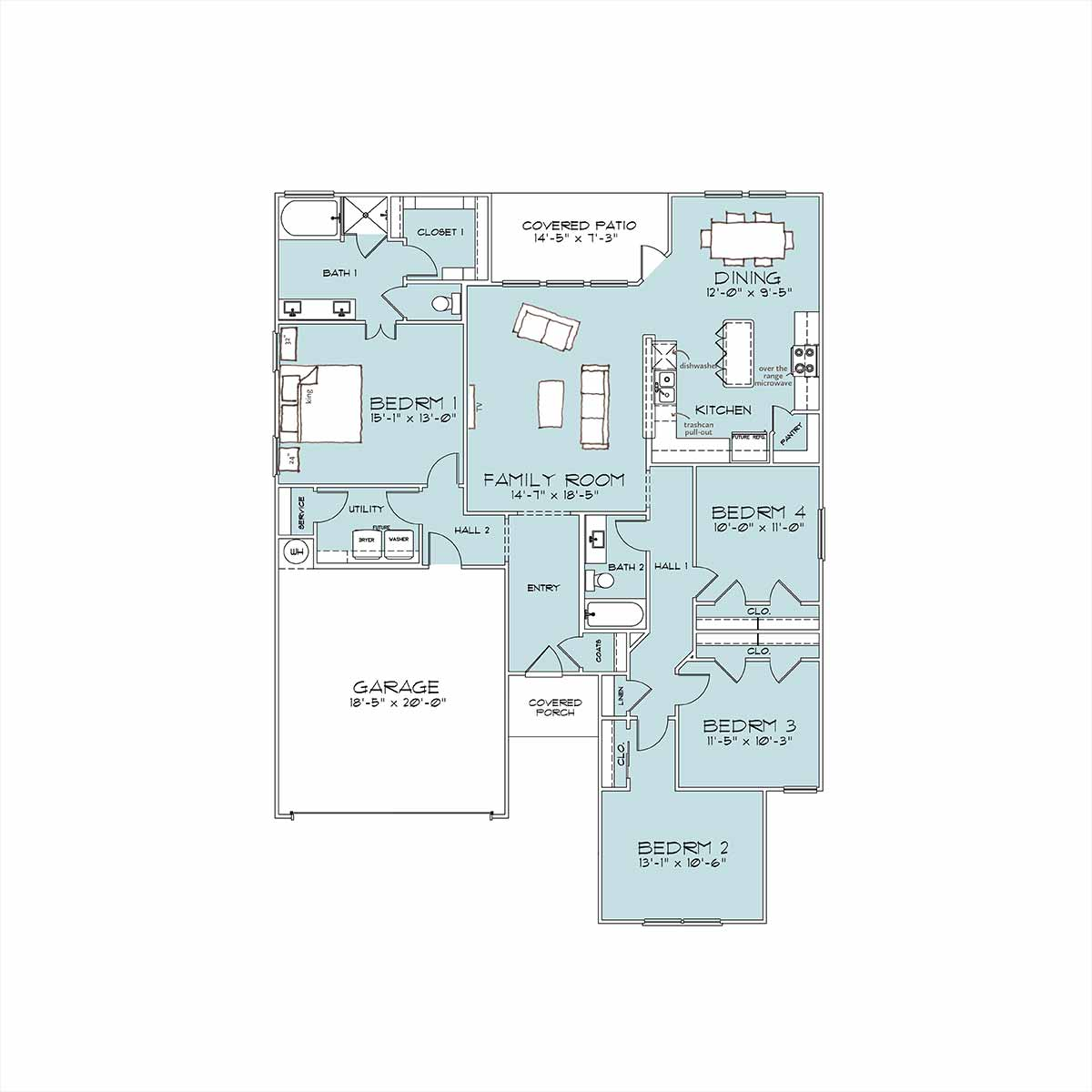 Rivington Floor Plan by Omega Builders in Wyndham Hill