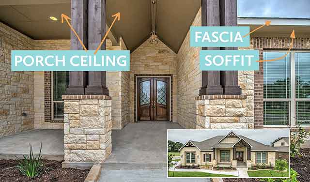 covered porch showing paint locations for fascia & soffit