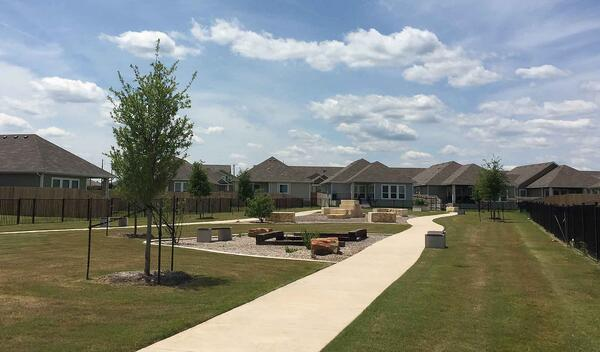 community park in villages of westfield with new trees