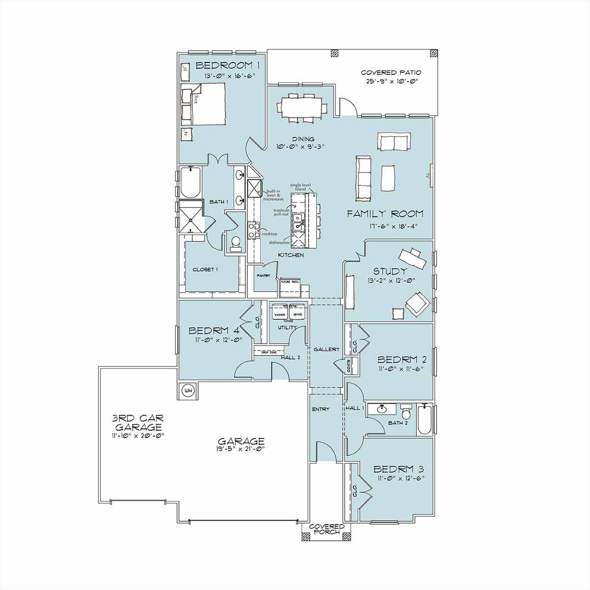 barton floor plan with 3rd car garage
